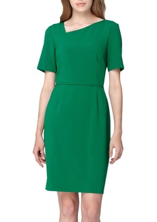 Tahari Asymmetrical Neck Sheath Dress (Regular & Petite)