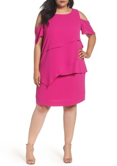 Tahari Asymmetrical Tier Cold Shoulder Shift Dress (Plus Size)