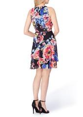 Tahari Asymmetrical Tiered Chiffon Halter Dress (Regular & Petite)
