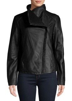 Tahari Asymmetrical Zip Leather Jacket