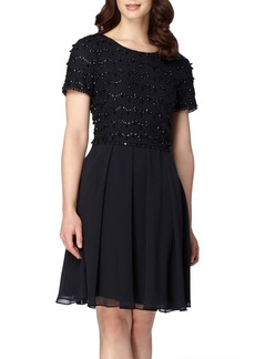 Tahari Beaded Fit & Flare Dress