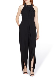 Tahari Beaded Neck Sleeveless Crepe Jumpsuit