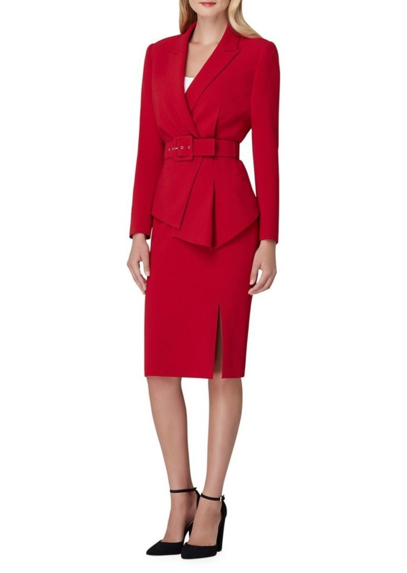 Tahari Belted Asymmetrical Skirt Suit