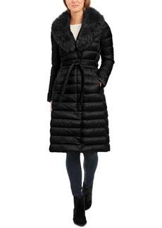 Tahari Belted Faux-Fur-Collar Down Puffer Coat