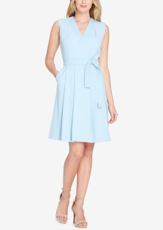 Tahari Belted Faux-Wrap Dress