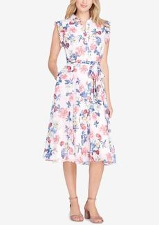 Tahari Belted Floral-Print Shirtdress