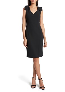 Tahari Bow Crepe Sheath Dress