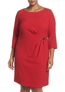 Tahari Buckle Detail Three-Quarter Sleeve Sheath Dress (Plus Size)
