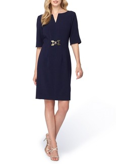 Tahari Buckle Waist Sheath Dress
