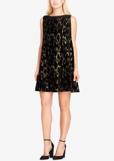 Tahari Burnout Velvet & Metallic Shift Dress