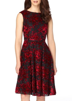 Tahari Burnout Velvet Fit & Flare Dress (Regular & Petite)