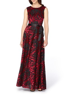 Tahari Burnout Velvet Gown