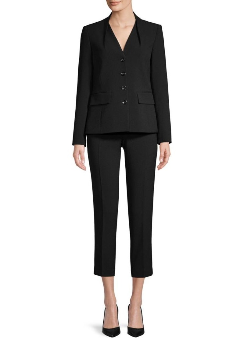 Tahari Button-Front Cropped Pant Suit