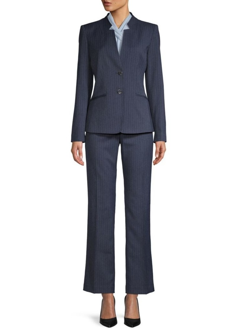 Tahari Button-Front Pinstriped Suit