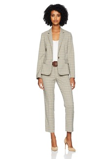 Tahari by Arthur S. Levine Women's 1 Button Notch Turn up Collar Plaid Pant Suit