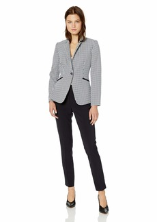 Tahari by Arthur S. Levine Women's 1 Button Stand Collar Novelty Pant Suit
