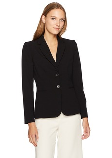 Tahari by Arthur S. Levine Women's 2 Button Bi Stretch Jacket Notch Collar black