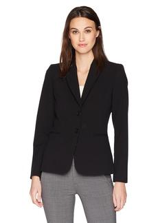 Tahari By Arthur S. Levine Women's 2 Button Bi Stretch Jacket Notch Collar black