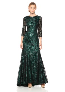 Tahari by Arthur S. Levine Women's 3/ Sleeve All Over Lace a Line Gown with Sequin Detail