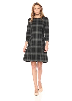 Tahari by Arthur S. Levine Women's 3/4 Sleeve Drop Waist Plaid Dress with Pleated Skirt
