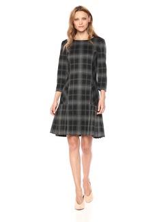 Tahari by Arthur S. Levine Women's 3/4 Sleeve Drop Waist Plaid Dress with Pleated Skirt