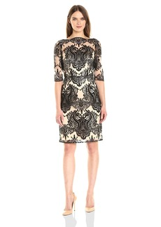 Tahari by Arthur S. Levine Women's 3/4 Sleve Sequin Lace Dress
