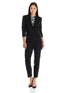 Tahari by Arthur S. Levine Women's Asl Bistretch Pant Suit with Ruched Sleeves