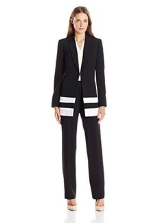 Tahari by Arthur S. Levine Women's Asl Missy Crepe Pant Suit with Combo