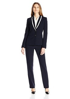 Tahari by Arthur S. Levine Women's Asl Missy Crepe Pant Suit with Framed Ivory Collar