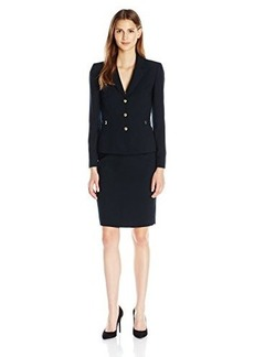 Tahari by Arthur S. Levine Women's Asl Missy Crepe Skirt Suit with Gold Buttons