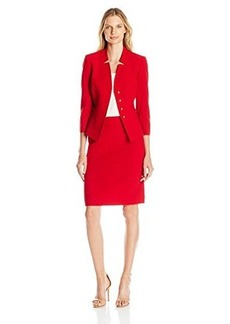 Tahari by Arthur S. Levine Women's Asl Missy Crepe Skirt Suit with Gold Trim