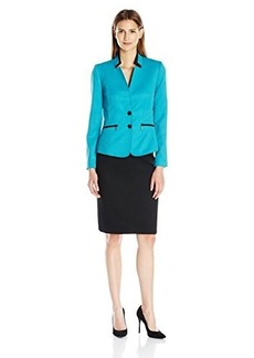Tahari by Arthur S. Levine Women's Asl Missy Pique Skirt Suit with Black Framing