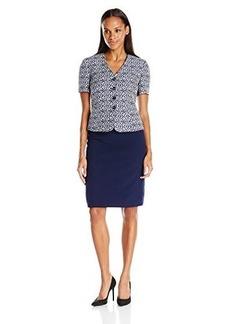 Tahari by Arthur S. Levine Women's Asl Missy Short Sleeve Jacquard Skirt Suit