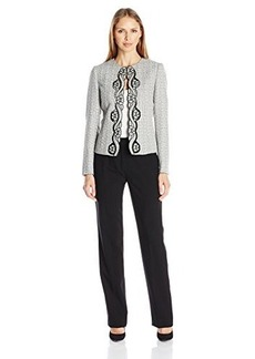 Tahari by Arthur S. Levine Women's Asl Missy Tweed Pant Suit with Embroidery Detail