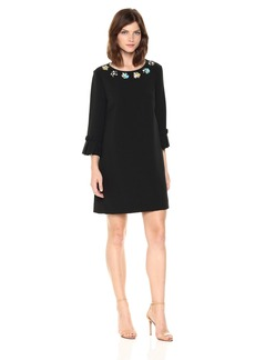 Tahari by Arthur S. Levine Women's Bell Sleeve Shift Dress with Embellished Neckline