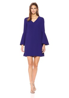 Tahari by Arthur S. Levine Women's Bell Sleeve Shift Dress with V-Neck