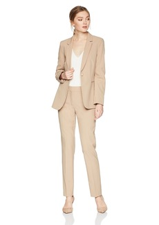 Tahari by Arthur S. Levine Women's Bi Stretch Long Sleeve One Button Closure Jacket Pant Suit