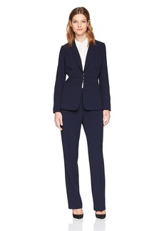 Tahari by Arthur S. Levine Women's Bi-Stretch Pant Suit with Center Ruched Closure