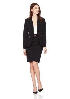 Tahari by Arthur S. Levine Women's Bi Stretch Skirt Suit with Copper Finish Hardware