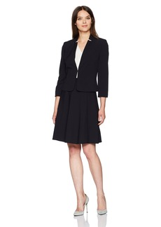 Tahari by Arthur S. Levine Women's Bi Stretch Suit with Star Neck and a-Line Skirt