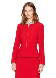 Tahari by Arthur S. Levine Women's Bi Stretch Zip Front Peplum Jacket Crimson red