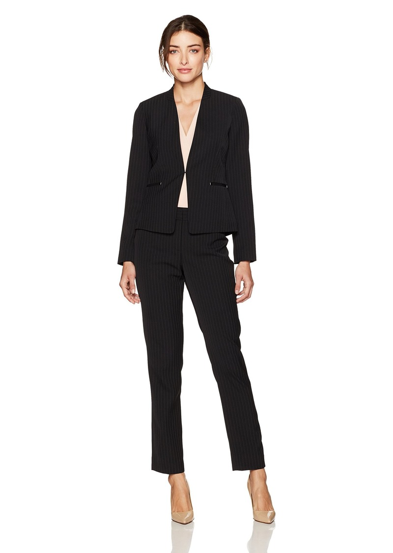 Tahari by Arthur S. Levine Women's Black and Ivory Pinstripe Open Front Pant Suit