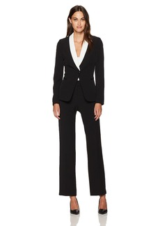 Tahari by Arthur S. Levine Women's Black Crepe One Button Pant Suit with Contrast Chalk Collar