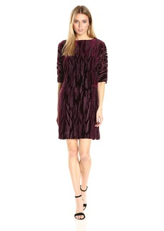 Tahari by Arthur S. Levine Women's Blouson Velvet Burnout Short Dress