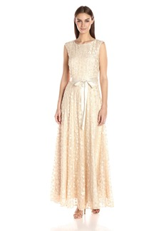 Tahari by Arthur S. Levine Women's Cap Sleeve Long Novelty Gown W Belt