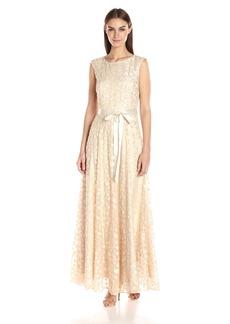 Tahari by Arthur S. Levine Women's Cap Sleeve Long Novelty Gown W Belt