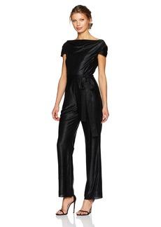 Tahari by Arthur S. Levine Women's Cap Sleeve Metallic Jumpsuit With Self Tie Belt
