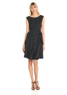 Tahari by Arthur S. Levine Women's Cap Sleeve Polka Dot Dress
