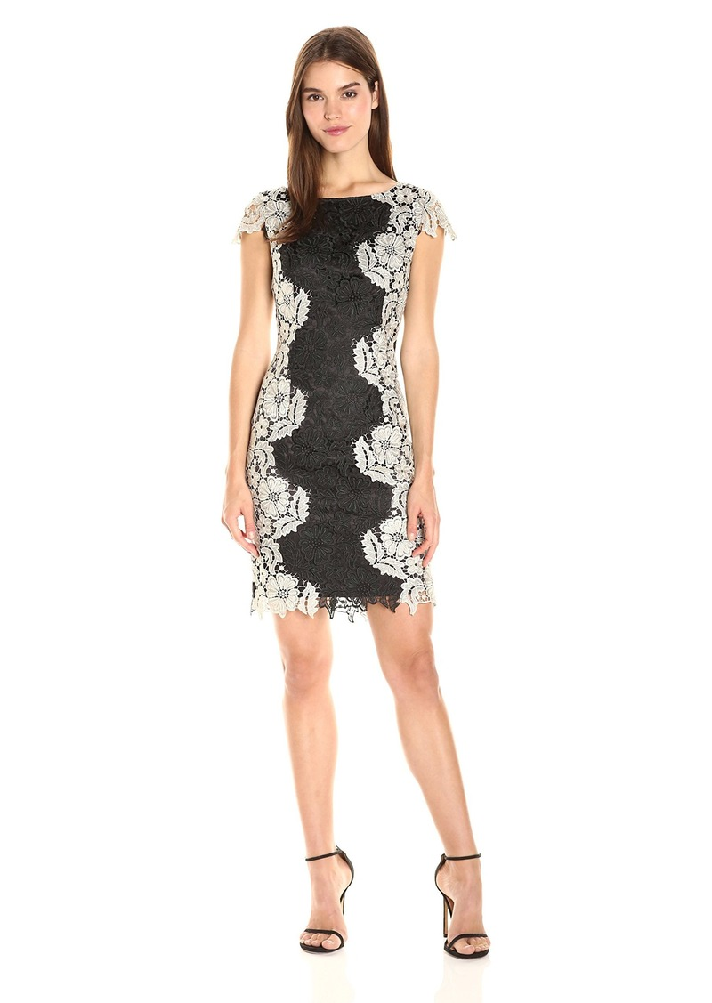 Tahari by Arthur S. Levine Women's Chemical Short Sleeve Lace Dress