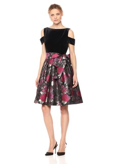 Tahari by Arthur S. Levine Women's Cold Shoulder Dress with Velvet Top and Floral Pattern